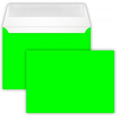 25 Briefumschläge C6 DIN (114-162 cm) - Neon Grün, Verschluss-Technik: Querlasche mit Abziehstreifen ! Grammatur: 90 g/m²