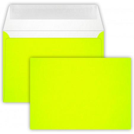25 Briefumschläge C6 DIN (114-162 cm) - Neon Gelb, Verschluss-Technik: Querlasche mit Abziehstreifen ! Grammatur: 90 g/m²