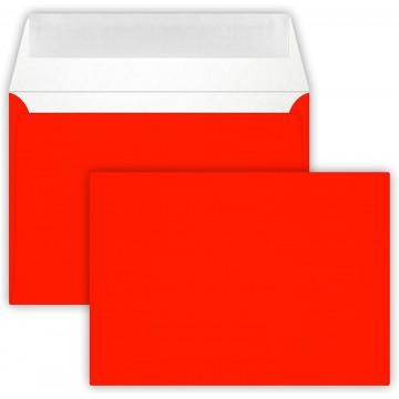 25 Briefumschläge C6 DIN (114-162 cm) - Neon Rot, Verschluss-Technik: Querlasche mit Abziehstreifen ! Grammatur: 90 g/m²