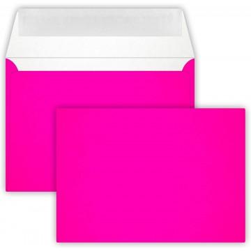 25 Briefumschläge C6 DIN (114-162 cm) - Neon Pink , Verschluss-Technik: Querlasche mit Abziehstreifen ! Grammatur: 90 g/m²