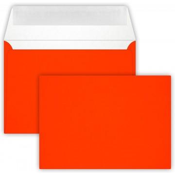 25 Briefumschläge C6 DIN (114-162 cm) - Neon Orange , Verschluss-Technik: Querlasche mit Abziehstreifen ! Grammatur: 90 g/m²