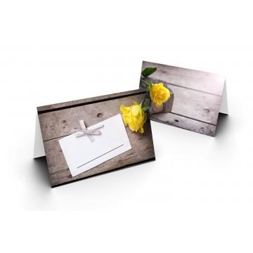 Wunderschöne Tischkarten (Gelbe Rose auf einem Stein, Holz-Hintergrund) UV-Lack glänzend