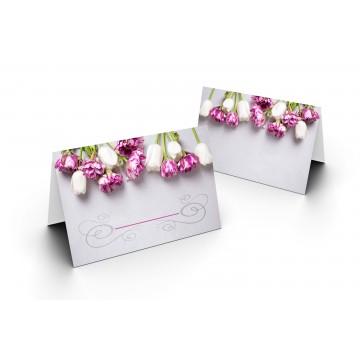 Wunderschöne Tischkarten (Weiß/Lila Tulpen, Grauer-Hintergrund) UV-Lack glänzend