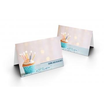 Wunderschöne Tischkarten (Geburtstagsmuffin mit Kerzen) UV-Lack glänzend