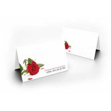 Tischkarten (Rote Rose) UV-Lack glänzend