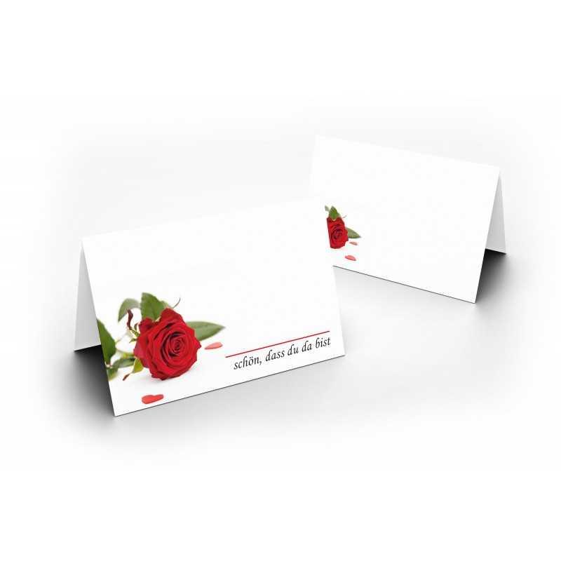 Wunderschöne Tischkarten (Rote Rose) UV-Lack glänzend