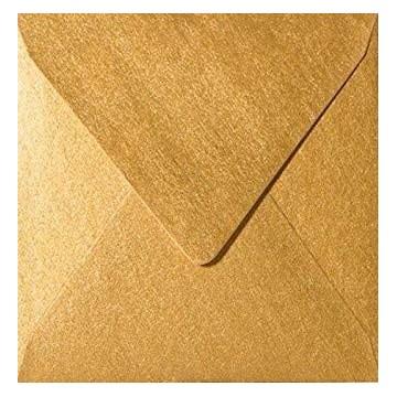 25 Briefumschläge 13 x 1 cm 130 x 130 mm Gold Metallic Verschluss: feuchtklebend Grammatur: 100 g/m²
