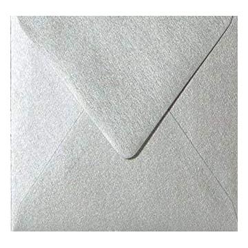 25 Briefumschläge 13 x 13 cm 130 x 130 mm Silber Metallic Verschluss: feuchtklebend Grammatur: 100 g/m²