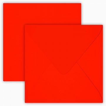 25 Briefumschläge 12,5 x 12,5 cm 125 x 125 mm Neon Rot Verschluss: feuchtklebend Grammatur: 100 g/m²