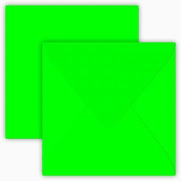 25 Briefumschläge 12,5 x 12,5 cm 125 x 125 mm Neon Grün Verschluss: feuchtklebend Grammatur: 100 g/m²