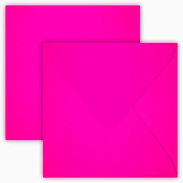 25 Briefumschläge 12,5 x 12,5 cm 125 x 125 mm Neon Pink Verschluss: feuchtklebend Grammatur: 100 g/m²