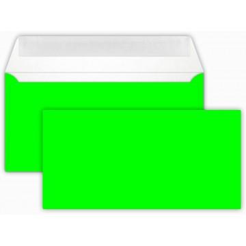 25 DIN lang Briefumschläge Neon Grün  Kuvert 11 x 22 cm mit Haftstreifen, Grammatur 100 g/m²