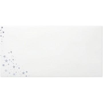 25 DIN lang Briefumschläge Weiß Innendruck Silberprägung 11 x 22 cm mit Haftstreifen, Grammatur 120 g/m²