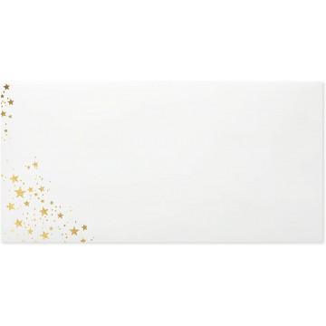 25 DIN lang Briefumschläge Weiß Innendruck Goldprägung 11 x 22 cm mit Haftstreifen, Grammatur 120 g/m²