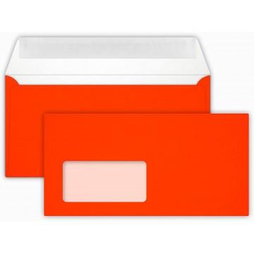 25 DIN lang Briefumschläge Neon Rot mit Fenster Kuvert 11 x 22 cm mit Haftstreifen, Grammatur 100 g/m²