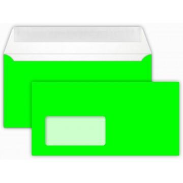 25 DIN lang Briefumschläge Neon Grün mit Fenster Kuvert 11 x 22 cm mit Haftstreifen, Grammatur 100 g/m²