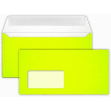 25 DIN lang Briefumschläge Neon Gelb mit Fenster Kuvert 11 x 22 cm mit Haftstreifen, Grammatur 100 g/m²