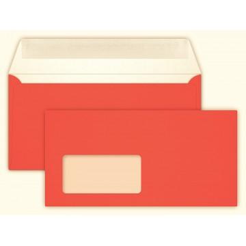 25 DIN lang Briefumschläge Neon Orange mit Fenster Kuvert 11 x 22 cm mit Haftstreifen, Grammatur 100 g/m²