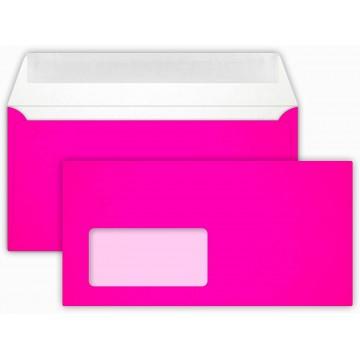 25 DIN lang Briefumschläge Neon Pink mit Fenster Kuvert 11 x 22 cm mit Haftstreifen, Grammatur 100 g/m²