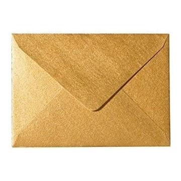 25 Briefumschläge B6 DIN (12,5 x 17,6 cm) Gold Metallic Verschluss: Feuchtklebend mit Dreieck Lasche  ! Grammatur: 100 g/m²