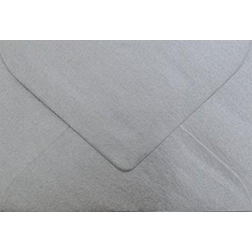 25 Briefumschläge B6 DIN (12,5 x 17,6 cm) Silber Metallic Verschluss: Feuchtklebend mit Dreieck Lasche  ! Grammatur: 100 g/m²