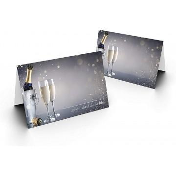 Tischkarten/Sektflasche/UV-Lack glänzend Format / 8,5 x 11,2 cm / 850 mm x 1120 mm