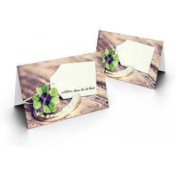 Tischkarten/Glücksklee/UV-Lack glänzend Format / 8,5 x 11,2 cm / 850 mm x 1120 mm