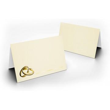 Tischkarten/Zart Creme mit Ringen Gold/UV-Lack glänzend Format / 8,5 x 11,2 cm / 850 mm x 1120 mm