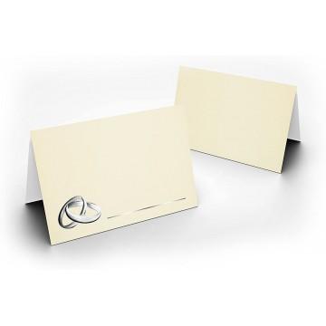 Tischkarten/Zart Creme mit Ringen Silber/UV-Lack glänzend Format / 8,5 x 11,2 cm / 850 mm x 1120 mm