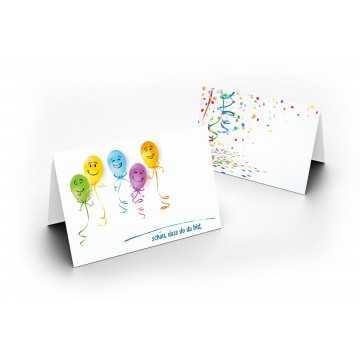 Tischkarten (Party / Kindergeburtstag / Luftballon ) UV-Lack glänzend