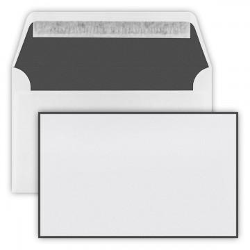 Trauer Briefumschläge 12,0cmx19,1cm (120 mm x 191 mm) Weiß mit schwarzen Rand, Innenfutter: schwarz