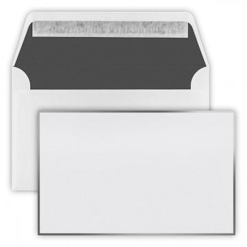 Trauer  Briefumschläge 12,0cmx19,1cm (120 mm x 191 mm) Weiß mit grau / matt schwarzen Rand, Innenfutter: schwarz