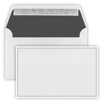Trauer Briefumschläge 12,0cmx19,1cm (120 mm x 191 mm) Weiß mit zwei farbigen Rand: Zart-Creme  , Innenfutter: schwarz